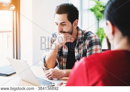 Coworking Process, Corporate Employees Team Working Brainstorm Project Document Sheet Paperwork. Bus