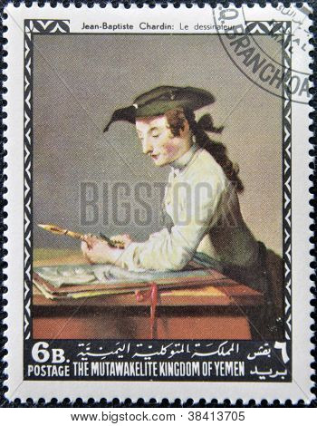 YEMEN - CIRCA 1968: A stamp printed in Yemen shows The Draughtsman by Jean-Baptiste Sim�on Chardin