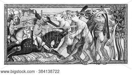 Alexander the Great fights a human race with animal heads. From a 13th century manuscript, From the Universe and Humanity, 1910.