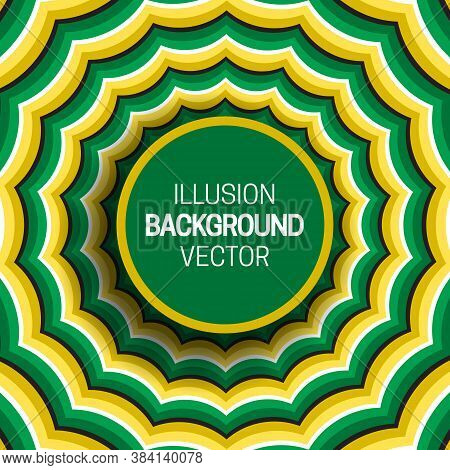 Round Frame On Green Yellow Optical Illusion Hypnotic Background Of Moving Wavy Stripes.
