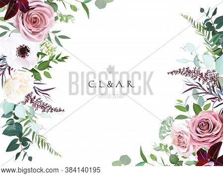 Dusty Pink, Cream Rose, Pale Flowers, White Anemone Horizontal Botanical Vector Design. Eucalyptus,