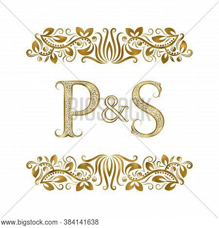 P And S Vintage Initials Logo Symbol. The Letters Are Surrounded By Ornamental Elements. Wedding Or