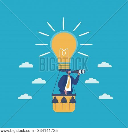Start Up Project Business. Light Bulb As A Symbol Of New Idea And Finding Solution. Business Man On