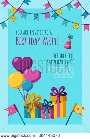 Birthday Invitation Card. Ready-made Invitation Design With Presents, Balloons And Flags. Colorful V