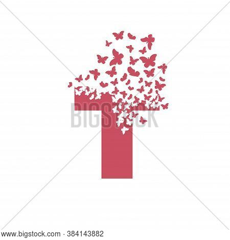 Letter T With Effect Of Destruction. Dispersion. Butterfly, Moth.