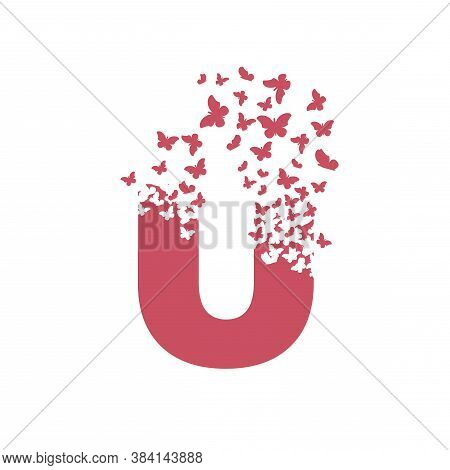 Letter U With Effect Of Destruction. Dispersion. Butterfly, Moth.