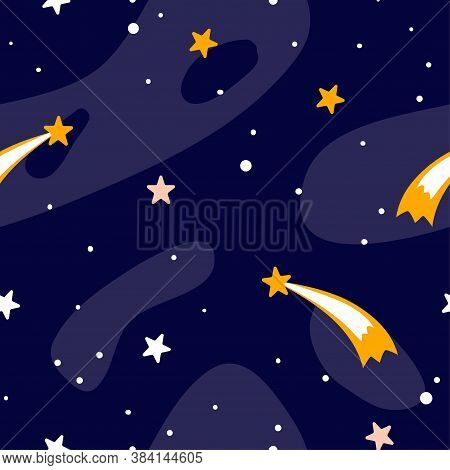 Cartoon Space Seamless Pattern. Heavenly Science Background With Space. Stars Asteroids And Astronom