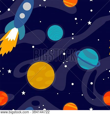 Cartoon Space Seamless Pattern. Heavenly Science Background With Space Objects. Planets On Galaxy Su