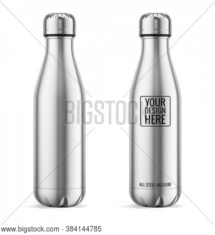 Metal Reusable Water Sport Bottle Isolated on White Background. Steel water bottle. Template Mockup. 3d rendering