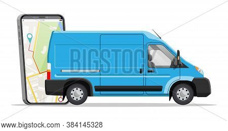 Blue Delivery Van And Smartphone With Navigation App. Express Delivering Services Commercial Truck.