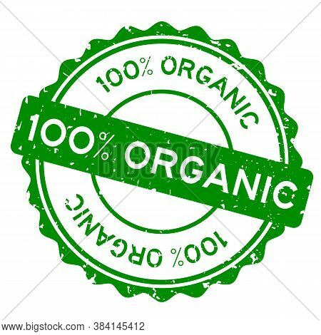 Grunge Green 100 Percent Organic Word Round Rubber Seal Stamp On White Background