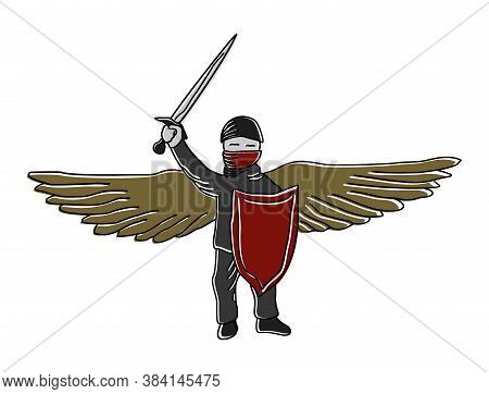 Simple Cartoon Vector Color Clipart Warrior-defender With Wings, Sword And Shield. The Symbol Of A P