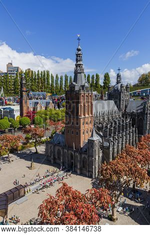 The Hague, Netherlands - April 26, 2017: Hertogenbosch cathedral in Madurodam miniature park in The Hague.