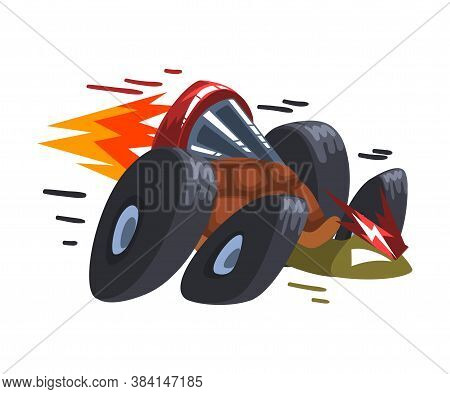 Fast Turtle On Wheels, Tortoise Animal Cartoon Character With Turbo Speed Booster And Fire Vector Il
