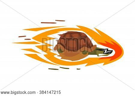 Fast Turtle On Wheels, Funny Tortoise Animal Cartoon Character With Fire Vector Illustration On Whit
