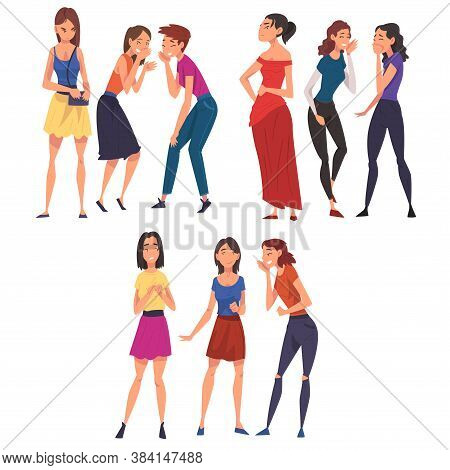 Girl Friends Gossiping And Giggling Behind The Backs Of Sad, Stressed Girls Cartoon Vector Illustrat