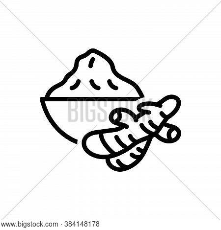 Black Line Icon For Turmeric Curcuma-longa Ginger Antibiotic Curcuma Condiment Spice Flavor Ingredie