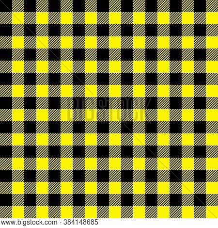 Tartan Cadmium Yellow Plaid. Scottish Pattern In Black And Blue Cage. Scottish Cage. Traditional Sco
