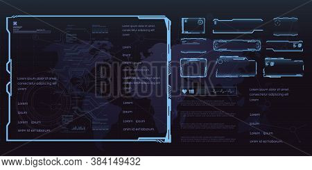 Set Of Futuristic Frames For Hud User Interface. Set Of Game Frames Or Screens With Text Callouts. F