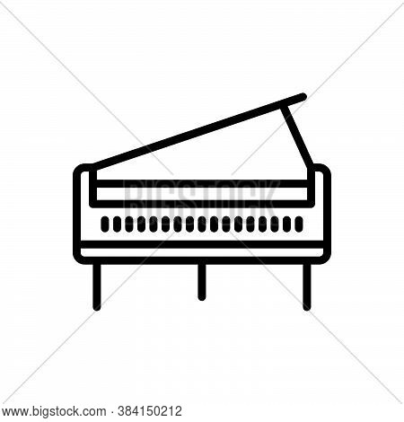 Black Line Icon For Piano Concert Entertainment Harmony Instrument Instrumental Ivory Classical Musi