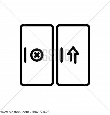 Black Line Icon For Entrance Gateway Inlet Door Approach Inside Doorway Exit Entry Interior