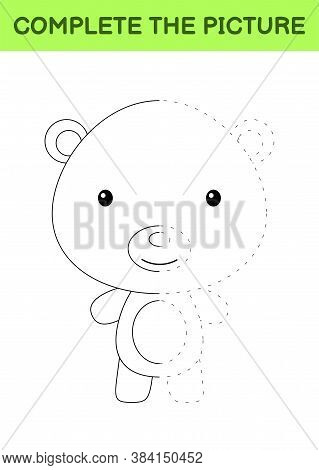 Complete The Picture Of Cute Bear. Coloring Book. Copy Picture. Handwriting Practice, Drawing Skills