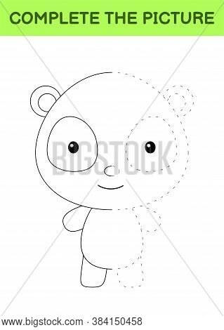Complete The Picture Of Cute Panda. Coloring Book. Copy Picture. Handwriting Practice, Drawing Skill