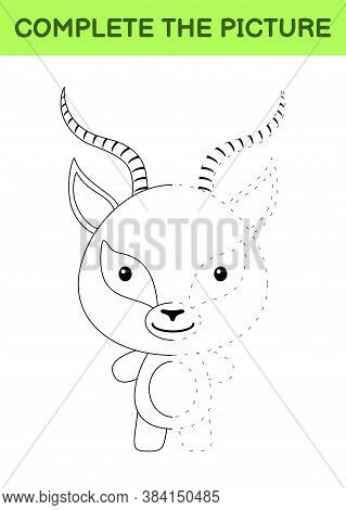 Complete The Picture Of Cute Gazelle. Coloring Book. Copy Picture. Handwriting Practice, Drawing Ski