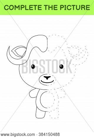 Complete The Picture Of Cute Musk Ox. Coloring Book. Copy Picture. Handwriting Practice, Drawing Ski