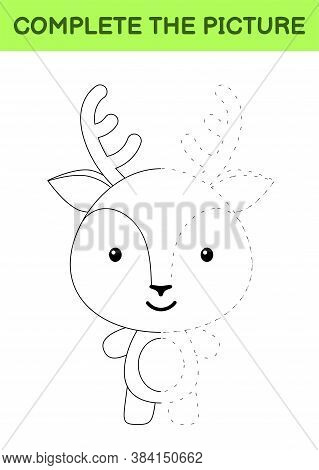 Complete The Picture Of Cute Deer. Coloring Book. Copy Picture. Handwriting Practice, Drawing Skills