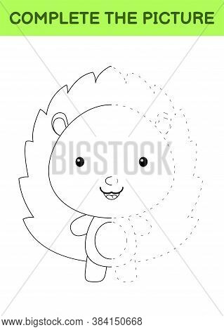 Complete The Picture Of Cute Hedgehog. Coloring Book. Copy Picture. Handwriting Practice, Drawing Sk
