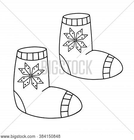 Felt Shoes In The Doodle Style. Winter Warm Shoes. Valenki Traditional Russian Shoes. Hand Drawn Vec