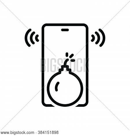 Black Line Icon For Threat Hazard Risk Intimidation Dynamite Bomb Blast Bluster Menace Danger Cautio
