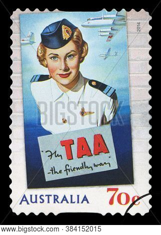 Australia - Circa 2014: A Stamp Shows Image Of The Australian Airlines Taa, The Friendly Way, Circa