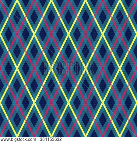 Rhombic Seamless Illustration Pattern As A Tartan Plaid Mainly In Blue With Bright Pink And Yellow L