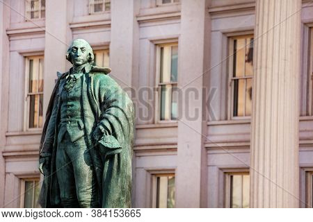 Close-up Of Albert Gallatin Statue, Fraser In Washington D.c. Near The Treasury Building