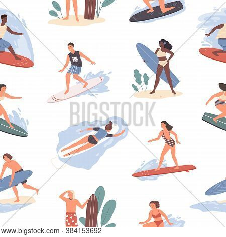 Seamless Pattern Of Different People Swimming In Sea On Surfboard In Beachwear. Repeatable Backgroun