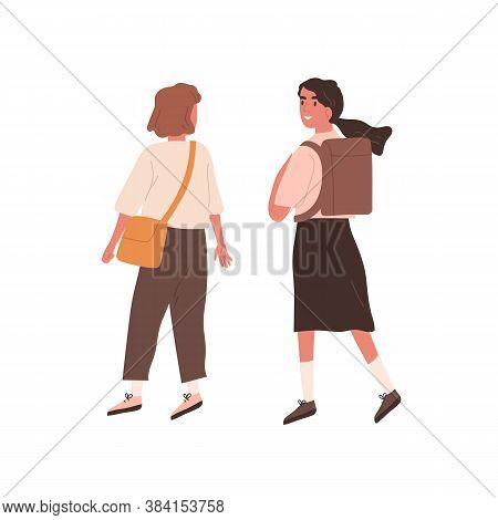 Female Teenage Friends Wearing School Uniform Walking With Schoolbags. Chatting Teen Classmates Or P