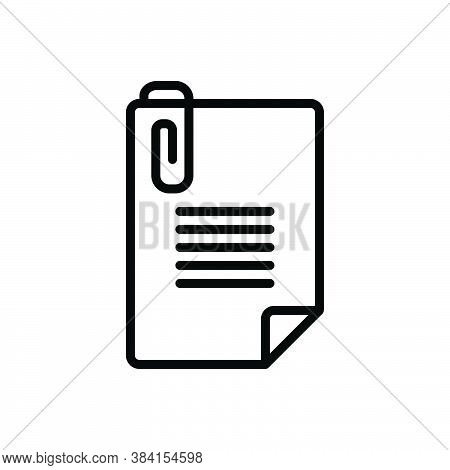 Black Line Icon For Attach Add Stationary Pin Tack Paper Fasten Affix Accessory Attachment Document