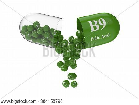Open Capsule With B9 Folic Acid From Which The Vitamin Composition Is Poured. Medical 3d Rendering I