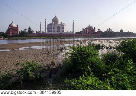 Agra Uttar Pradesh India On 21st September 2018: Taj Mahal View From Mehetab Bagh Agra Uttar Pradesh