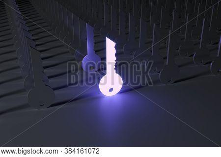 Key Business Success Leader Neon Concept Self Illumination Background 3d Illustration