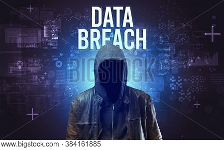 Faceless man with DATA BREACH inscription, online security concept
