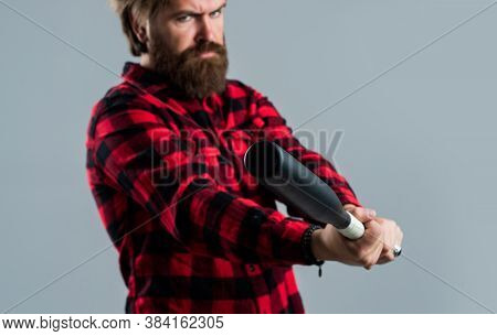 Practice Hit Technique. Man Reliving Stress. Emotion Control Concept. Brutal Bearded Man Using Baseb
