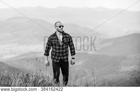 Lonely Traveller. Sexy Macho Man In Checkered Shirt. Travelling Adventure. Hipster Fashion. Cowboy I