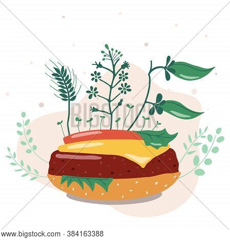 Vector Illustration. Vegetable Burger. Replacing Animal Meat To Plant-based Is A Rational Use Of Lan