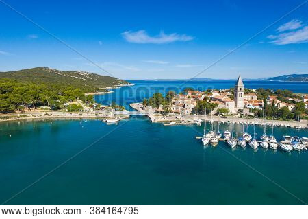 Beautiful Old Historic Town Of Osor With Bridge Connecting Islands Cres And Losinj, Croatia, Aerial