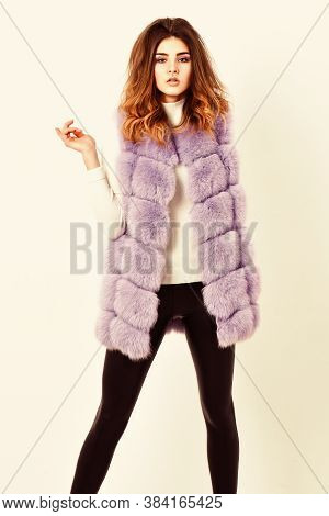 Luxury Fur Clothes For Female. Fashion Trend Concept. Winter Fashionable Wardrobe For Female. Boutiq