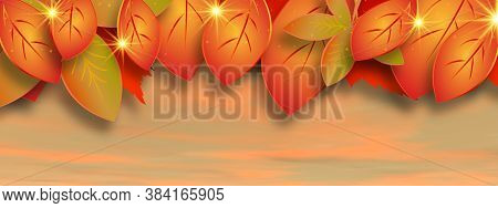 Autumn Leaves In The Sky Background By Sunset - 3d Render