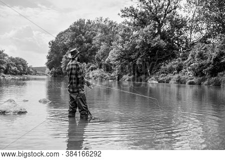 Teach Man To Fish. Fishing Outdoor Sport. Fishing Hobby. Calm And Tranquil. Patience And Waiting. Fl